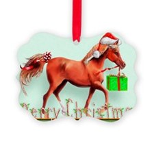 Red Horse Merry Christmas Ornament