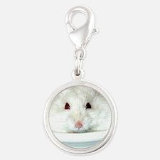 White-Albino Hamste... Silver Round Charm