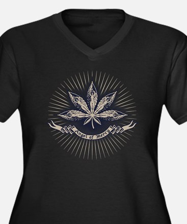 angel-leaf-L Women's Plus Size Dark V-Neck T-Shirt