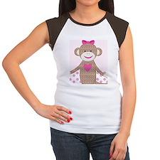 Girl Pink Sock Monkey K Women's Cap Sleeve T-Shirt