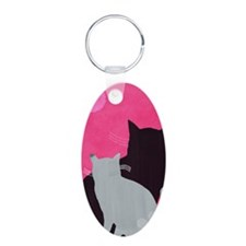 Two Cats Aluminum Oval Keychain