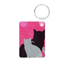 Two Cats Aluminum Photo Keychain