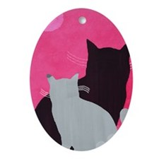 Two Cats Oval Ornament