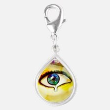 domestic violence Silver Teardrop Charm