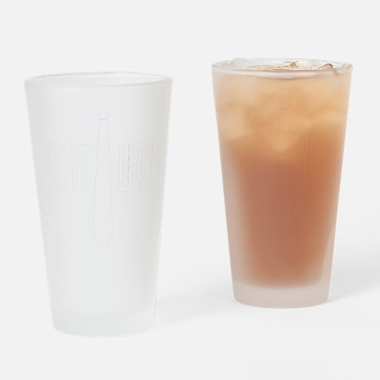 SuitUp_white Drinking Glass