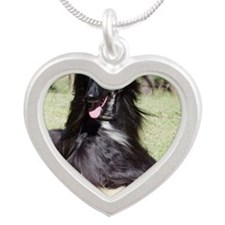 Afghan Hound AA017D-115 Silver Heart Necklace