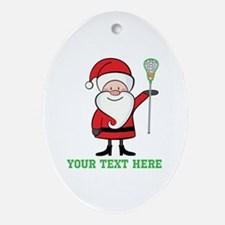 Lacrosse Santa Personalized Ornament (Oval)