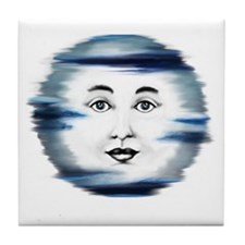 Blue Moon Face4 Tile Coaster