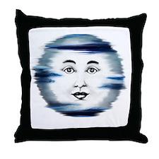 Blue Moon Face4 Throw Pillow