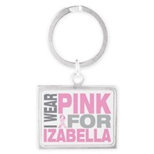 I-wear-pink-for-IZABELLA Landscape Keychain