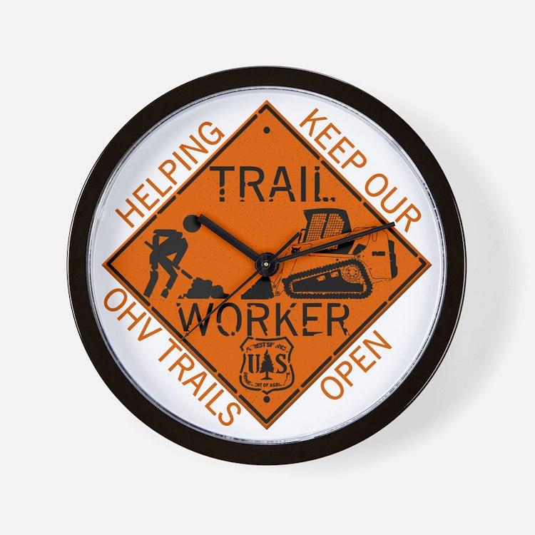 Trail Work Ahead Shirt Wall Clock
