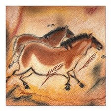 """cave-drawing-1 Square Car Magnet 3"""" x 3"""""""