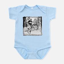Fun in the woods dirt biking Infant Bodysuit