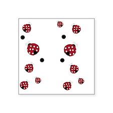 "Modern Ladybug Flip Flops Square Sticker 3"" x 3"""