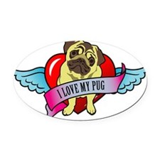 I-love-my-pug-wings-heart Oval Car Magnet