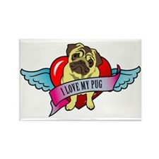 I-love-my-pug-wings-heart Rectangle Magnet