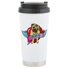 I-love-my-pug-wings-heart Travel Mug