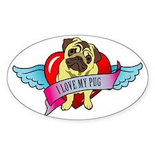 I-love-my-pug-wings-heart Decal