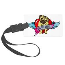 pugs-not-drugs-heart-wings Luggage Tag