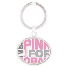 I-wear-pink-for-NORAH Oval Keychain