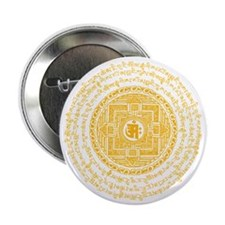 "Mantra Mandala - Golden-Om Transparen 2.25"" Button"