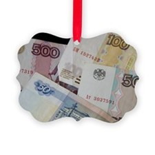 The Rouble bills and coins. (RF) Ornament