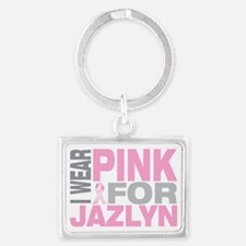 I-wear-pink-for-JAZLYN Landscape Keychain