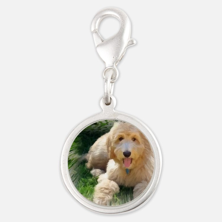 Goldendoodle Silver Round Charm