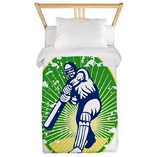 cricket player batsman with bat retro Twin Duvet