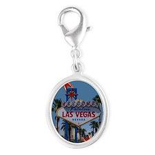Las Vegas Christmas Silver Oval Charm