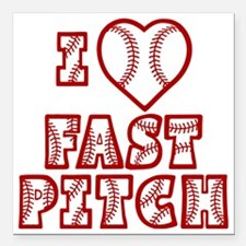 "red, Love Fastpitch Bloc Square Car Magnet 3"" x 3"""