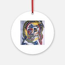 Chinese emblem white mens t-shirts Round Ornament