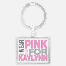 I-wear-pink-for-KAYLYNN Landscape Keychain