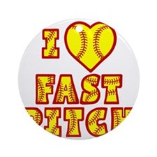 yellow red, Love Fastpitch Block Round Ornament