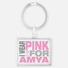 I-wear-pink-for-AMYA Landscape Keychain