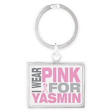I-wear-pink-for-YASMIN Landscape Keychain