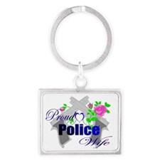 Cross guns police wife Landscape Keychain