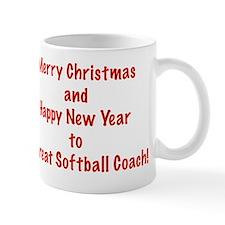 Merry Christmas Softball Coach Greeting Small Mug