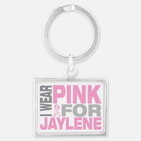 I-wear-pink-for-JAYLENE Landscape Keychain
