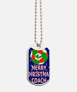 Merry Christmas Greeting Card for Soccer  Dog Tags