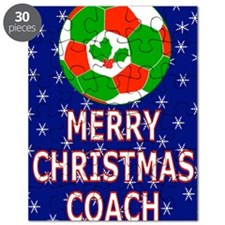 Merry Christmas Greeting Card for Soccer Co Puzzle