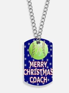 Merry Christmas Greeting Card for Softbal Dog Tags