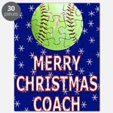 Merry Christmas Greeting Card for Softball  Puzzle