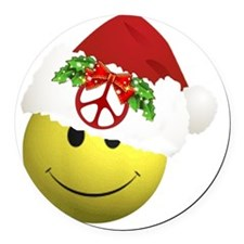 happy_santa_peace10x10 Round Car Magnet