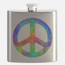 Distressed Rainbow Peace Sign Flask