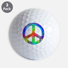 Distressed Rainbow Peace Sign Golf Ball