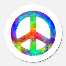 Distressed Rainbow Peace Sign Round Car Magnet