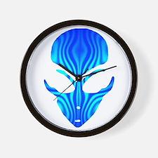Aqua Blue Alien Wall Clock