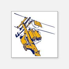 "power lineman electrician r Square Sticker 3"" x 3"""