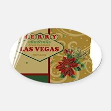 Las Vegas Christmas Card Oval Car Magnet